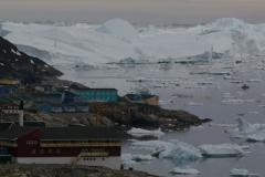 Strandede isbjerge ved Ilulissat